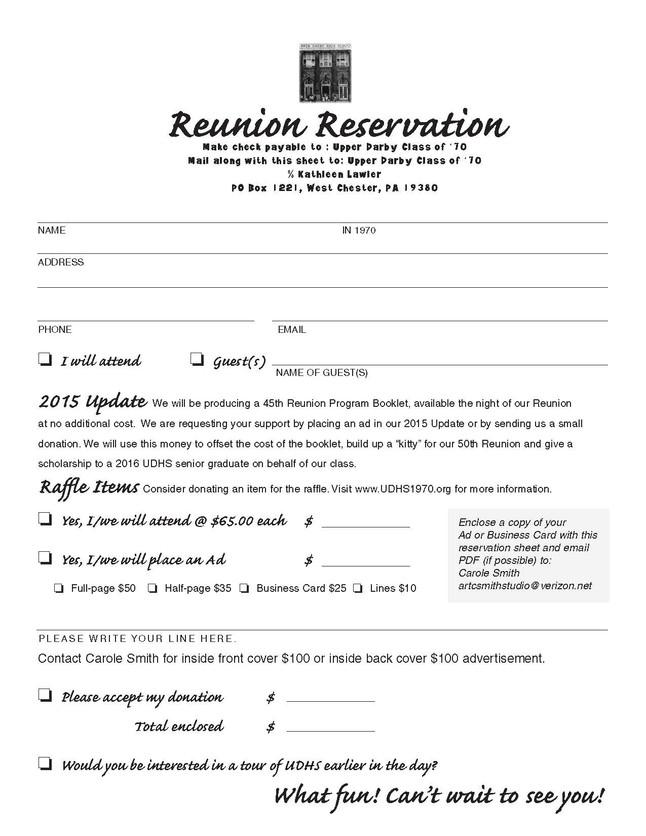 Reunion Reservation Form